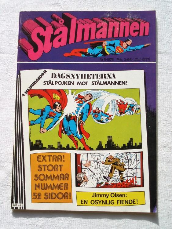 Stålmannen nr8 1976 NM Near mint,mycket bra skick,ny oläst,mikroskopiska skador