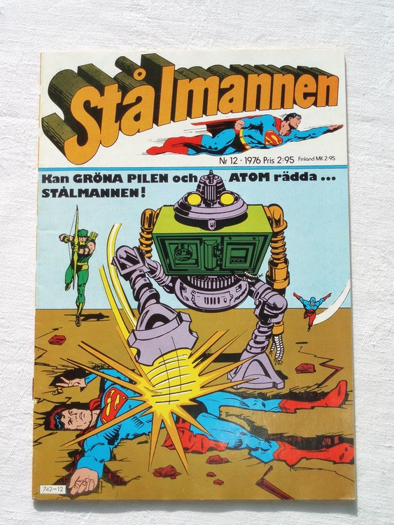 Stålmannen nr12 1976 NM Near mint,mycket bra skick,ny oläst,mikroskopiska skador