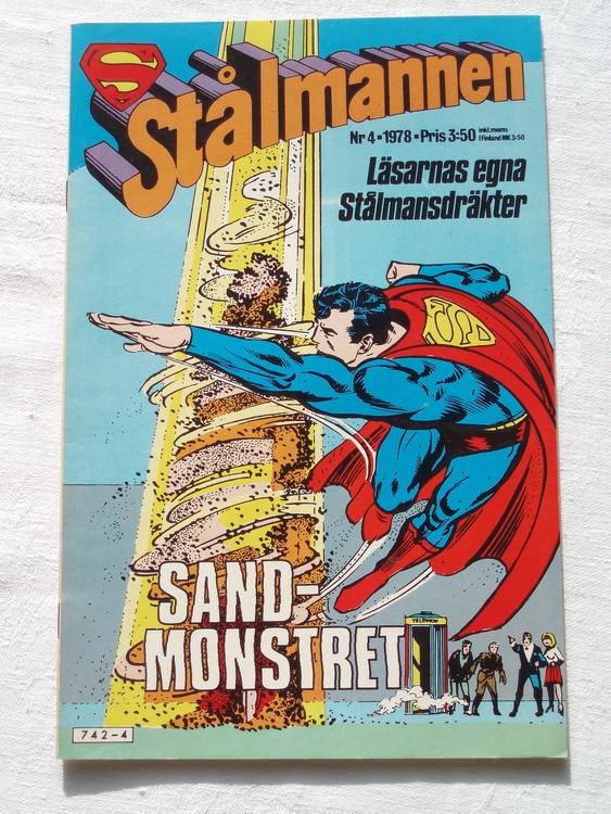 Stålmannen nr4 1978 NM Near mint,mycket bra skick,ny oläst,mikroskopiska skador