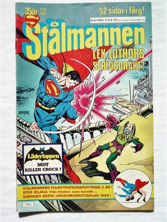 Stålmannen nr6 1984,52 sidor,färg,bättre skick,ena sidan vikt baksida