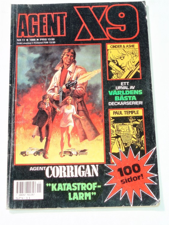 Agent X9 nr 11,1988 normalskick,normalslitet Semic press