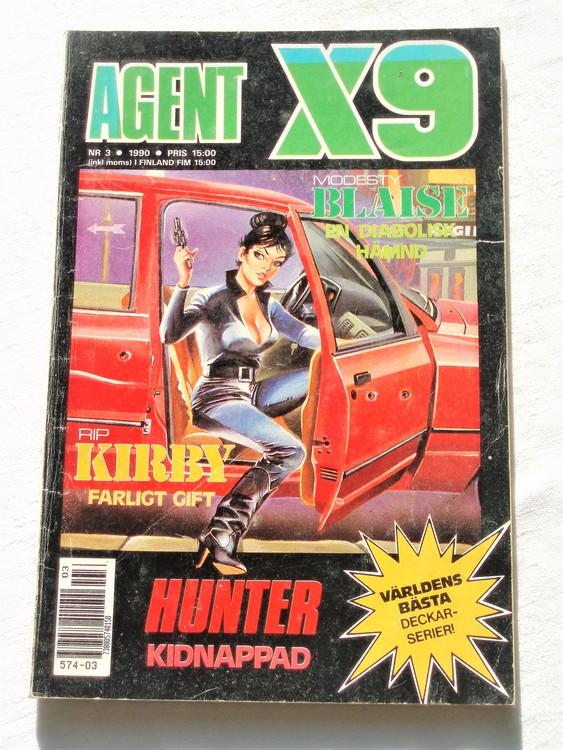 Agent X9 nr 3 1990,normalslitet,mycket bra skick