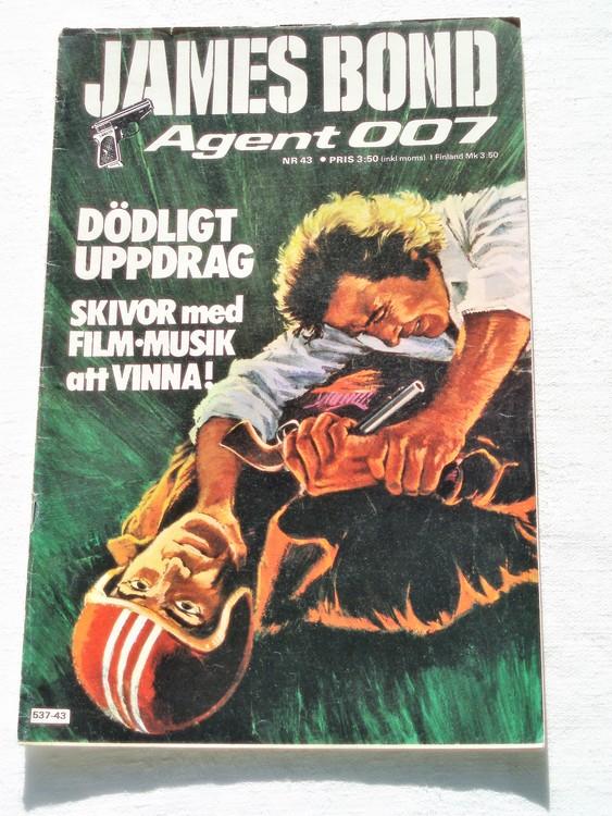 """James Bond Agent 007 nr 43 1976 """"Dödligt Uppdrag""""mycket bra skick"""