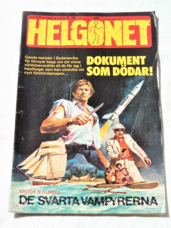 """Helgonet """"Dokument som dödar""""nr 13 1984 bättre skick, semic"""