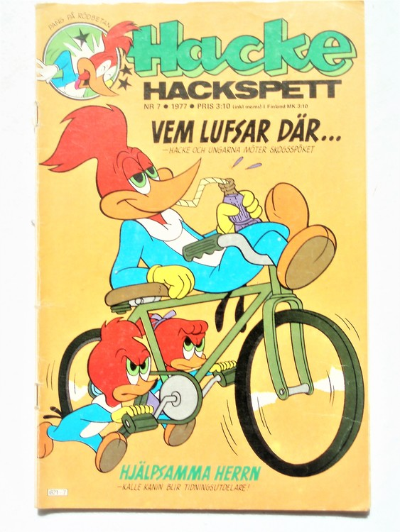 Hacke Hackspett nr 7 1977 normalslitet, normalskick