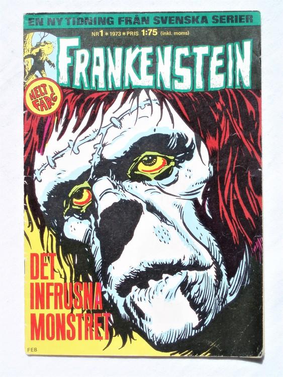 Frankenstein nr 1,1973 färg, sliten rygg,sitter ihop, bättre skick