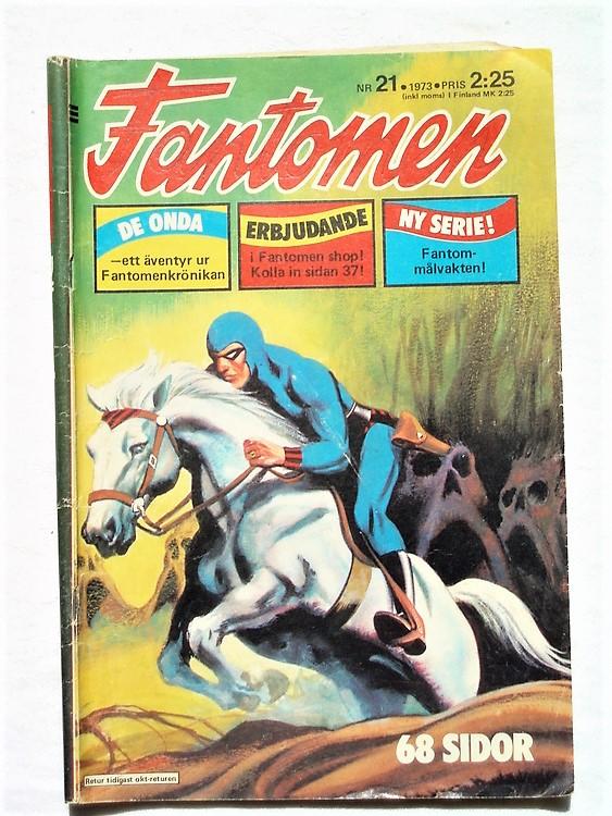 Fantomen nr 21,1973 68 sidor,bra skick,lite sliten vid häftningen.