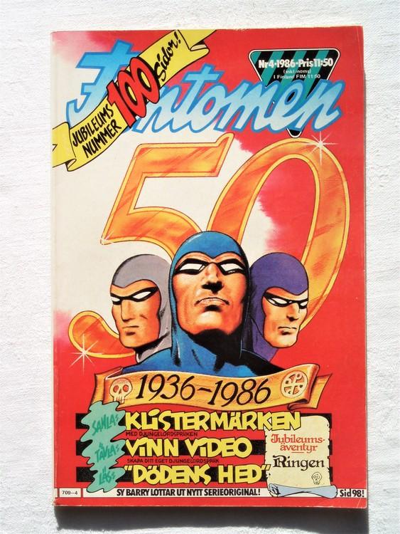 Fantomen nr 4 1986 bra skick,adressetikett baksidan.100 sidor