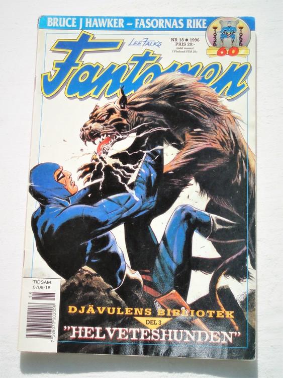 Fantomen nr 18 1996 bättre skick, adressetikett baksida.