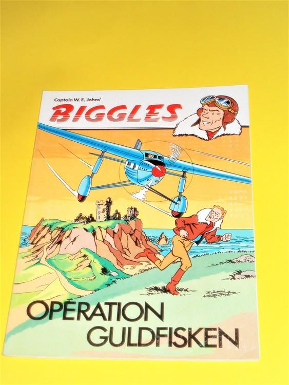 "Biggles ""Operation Guldfisken"" normalslitet,normalskick bra skick"