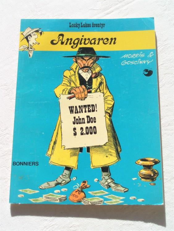 "Lucky Luke""Angivaren""nr17,1:a upplaga 1975 Bonniers Ny oläst"