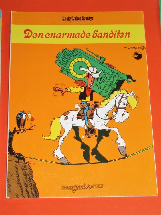 """Lucky Luke """"Den enarmade banditen"""",normalslitet.Bonniers Junior Förlag"""