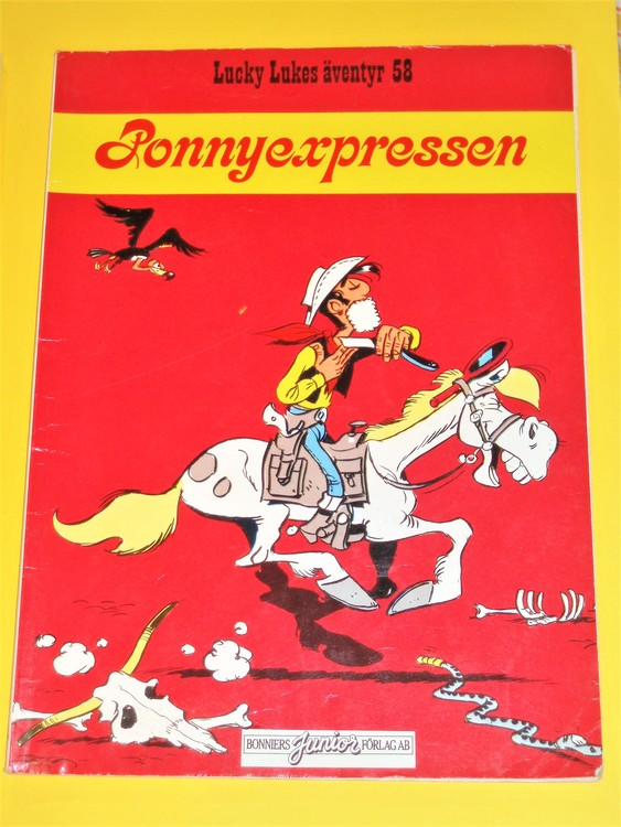 "Lucky Luke"" Ponnyexpressen"", normalslitet. Bonniers Junior Förlag"