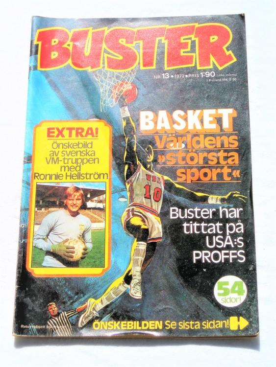 Buster nr 13 1972 semic,bra skick,normalsliten,lite nött rygg uppe.
