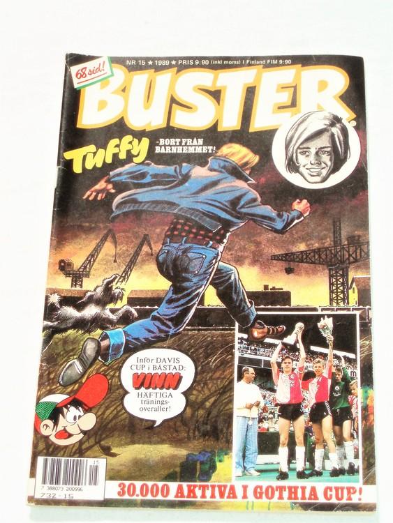 Buster nr 15 1989 semic bra skick normalsliten klister rester baksida