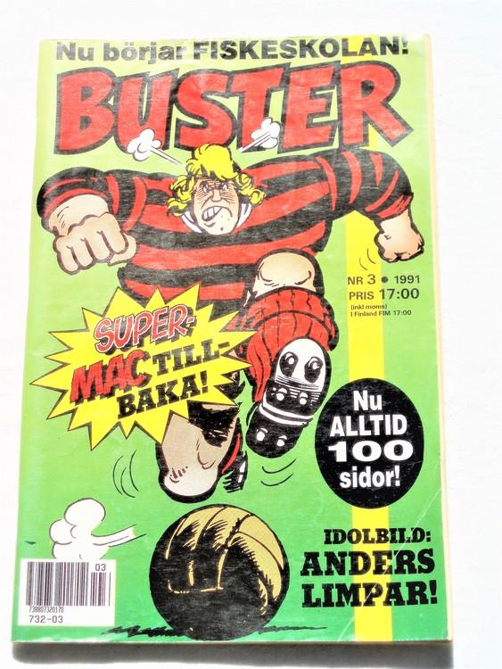 Buster nr 3 1991 semic,bra skick,normalsliten,första sidan vikt flik