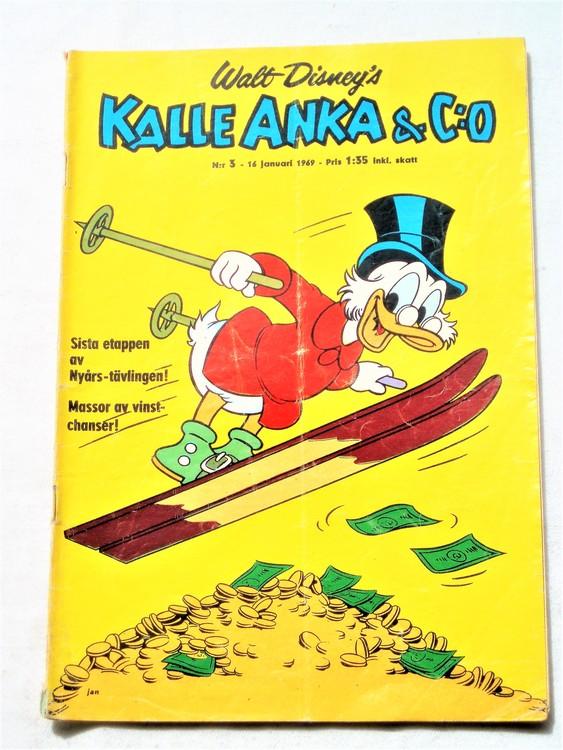 Kalle Anka&Co nr3,1969,adressetikett,nött rygg
