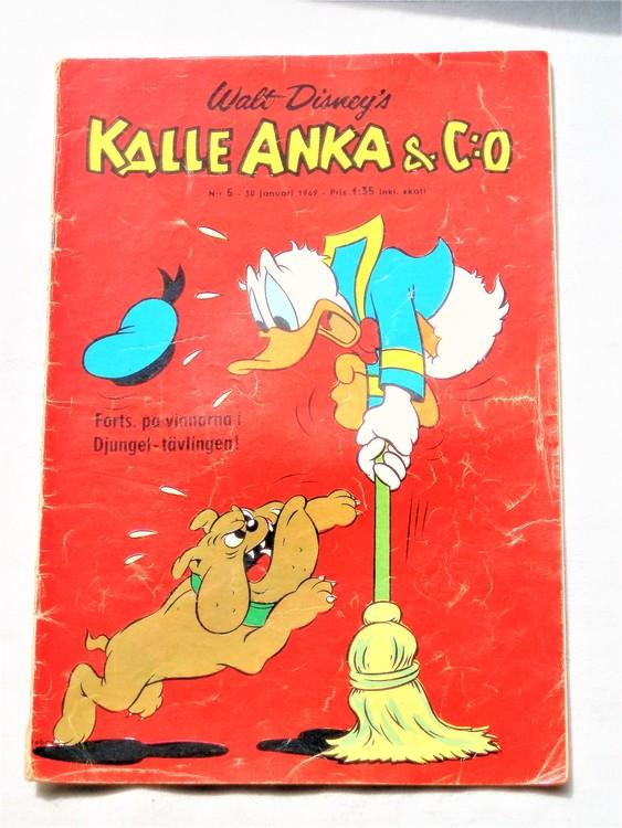 Kalle Anka&Co nr5,1969,adressetikett,nött rygg