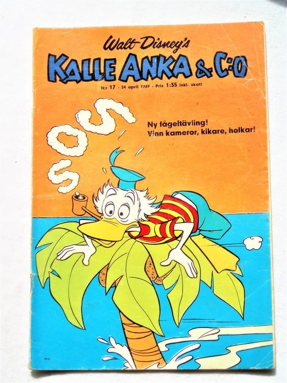 Kalle Anka&Co nr17,1969,adressetikett,nött rygg,vikta hörn