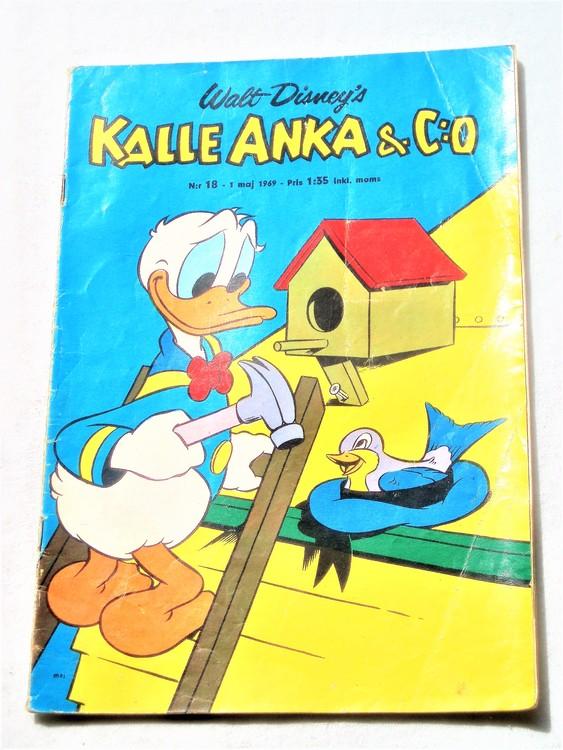 Kalle Anka&Co nr18,1969,adressetikett,nött rygg,vikta hörn