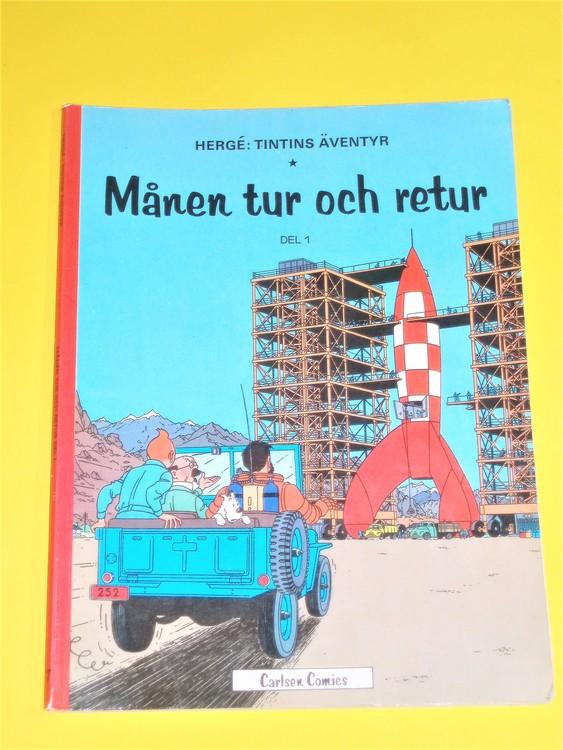 """Tintin """"Månen tur och retur"""" del1,VG,normalskick,normalslitet  Carlsen comics"""