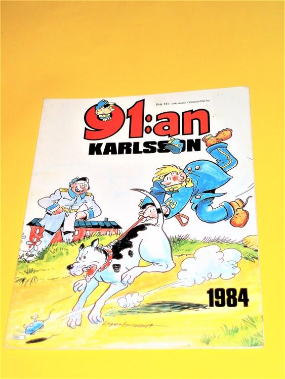 91:an Karlsson1984 VF,häftad,färg,bra skick,Egerbrant,semic press