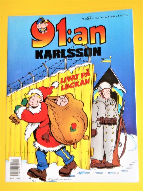 """91:an Karlsson """"Livat på Luckan"""" VF, färg, mycket bra skick,häftad Egerbrant"""