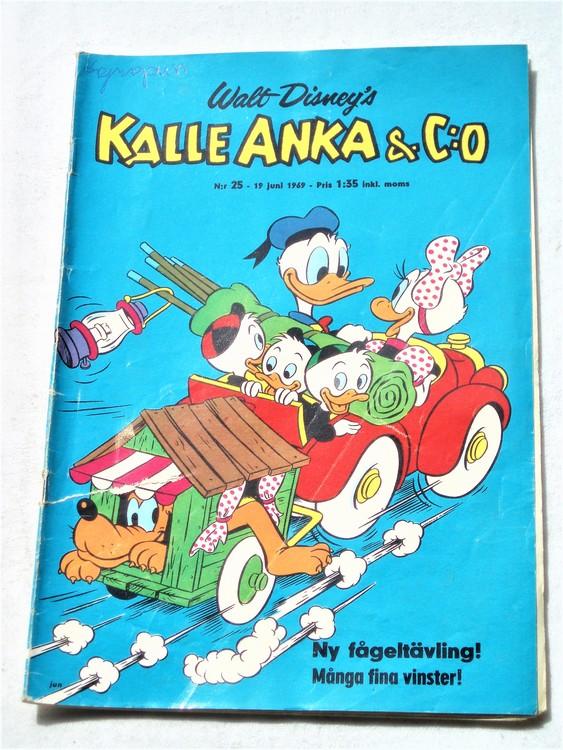 Kalle Anka&Co nr25,1969,adressetikett,nött rygg,reva baksida.