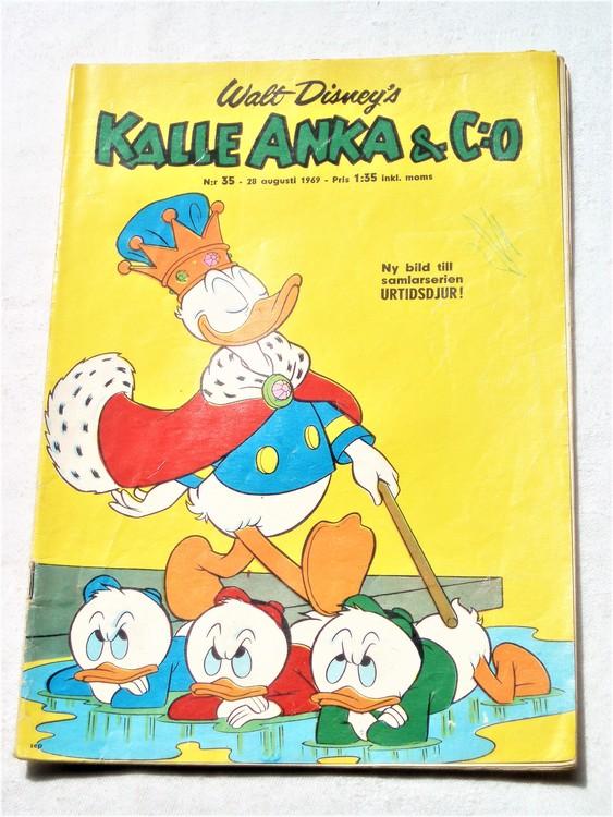 Kalle Anka&Co nr35,1969,adressetikett,framsida bläck,nött rygg