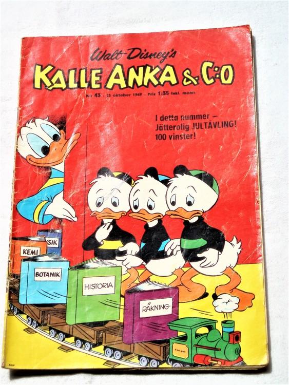 Kalle Anka&Co nr43,1969,normalskick, baksida skrivet,nött rygg