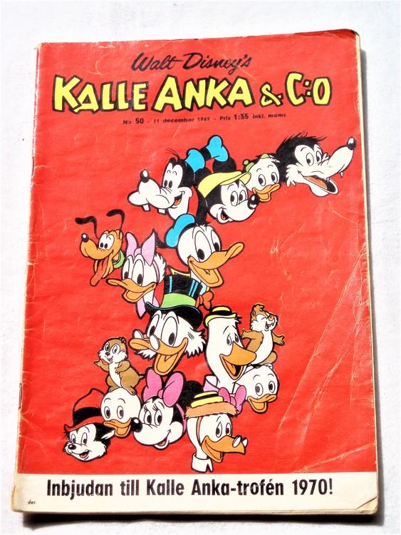 Kalle Anka&Co nr50,1969,normalskick, normalsliten,nött rygg