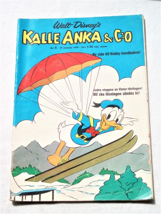 Kalle Anka&Co nr5,1970,normalskick, normalsliten,nött rygg