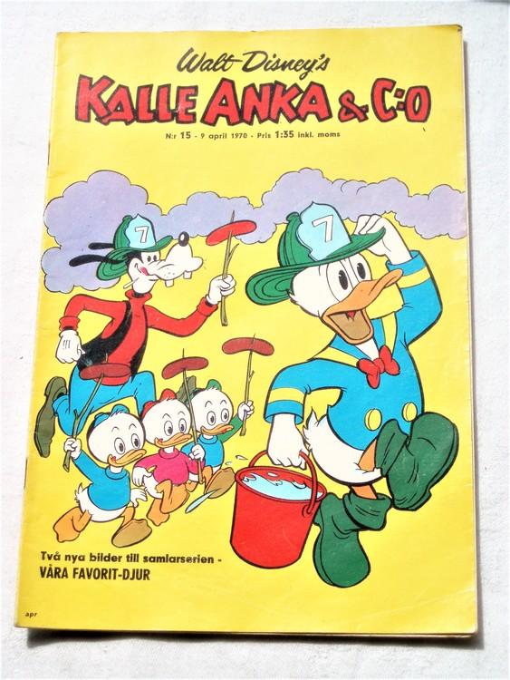 Kalle Anka&Co nr15,1970,normalskick, normalsliten,nött rygg