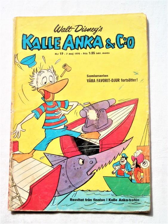 Kalle Anka&Co nr19,1970,normalskick, normalsliten,nött rygg
