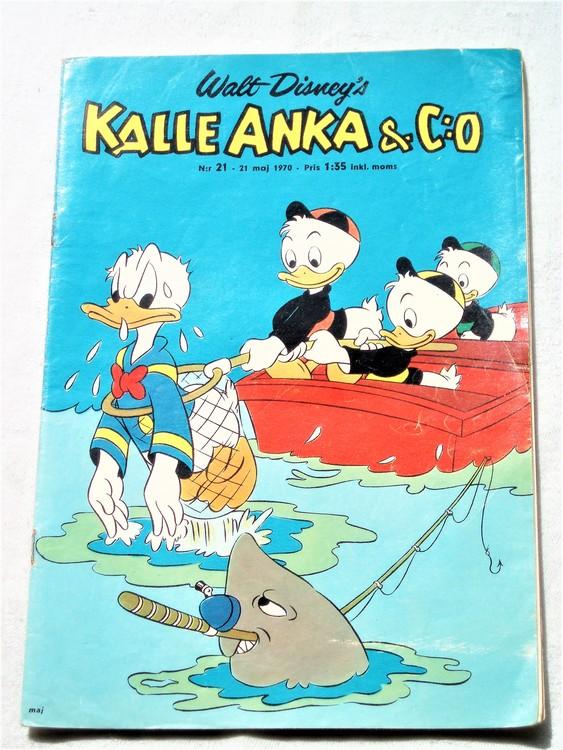 Kalle Anka&Co nr21,1970,normalskick, normalsliten,nött rygg