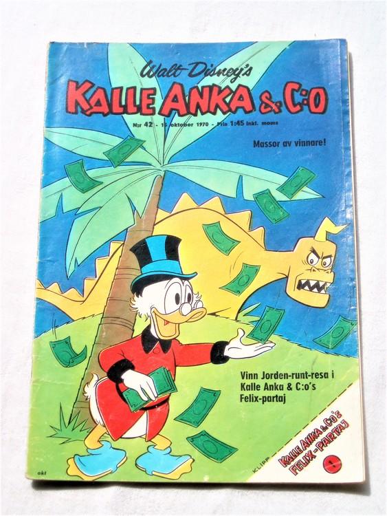 Kalle Anka&Co nr42,1970,normalskick, normalsliten,nött rygg