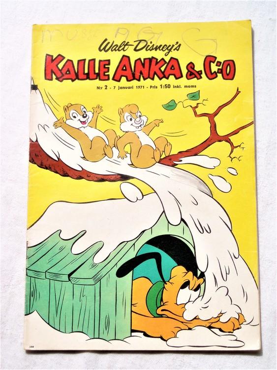 Kalle Anka&Co nr2,1971,normalskick, normalsliten,nött rygg
