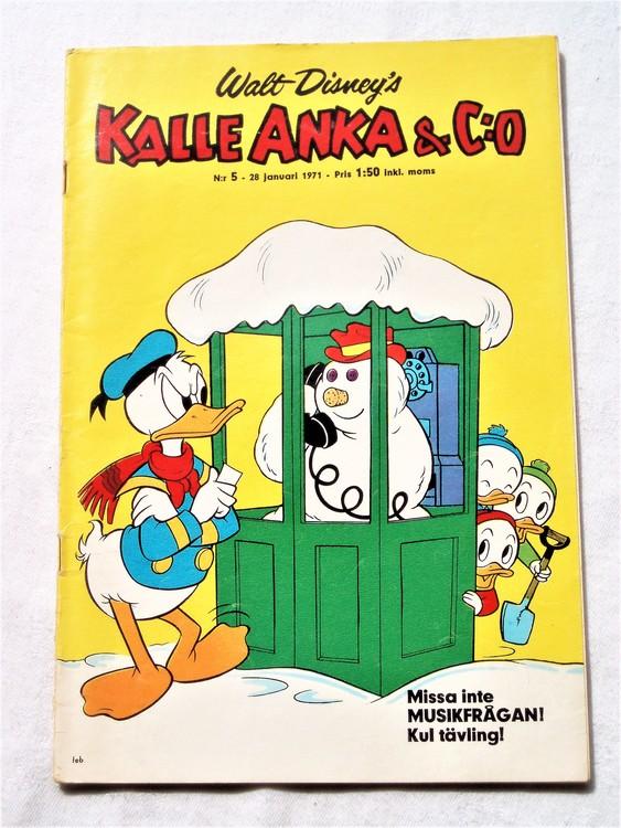 Kalle Anka&Co nr5,1971,normalskick, normalsliten,nött rygg