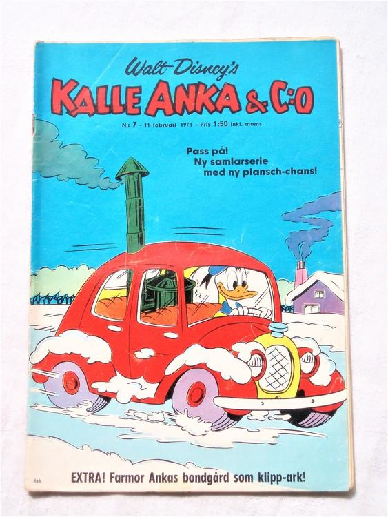 Kalle Anka&Co nr7,1971,normalskick, normalsliten,nött rygg