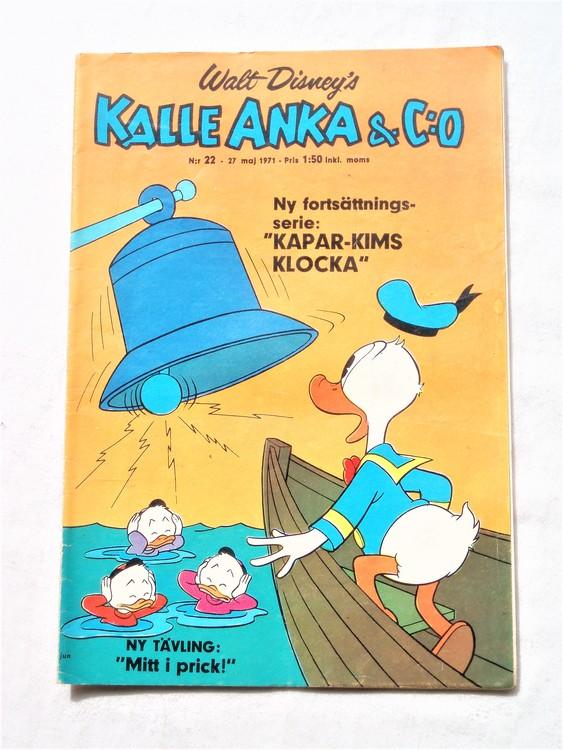 Kalle Anka&Co nr22,1971,normalskick, normalsliten,nött rygg