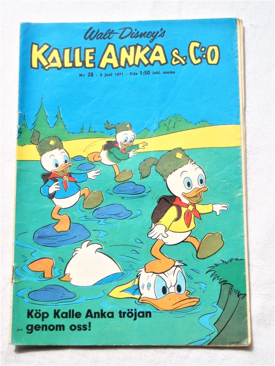 Kalle Anka&Co nr23,1971,normalskick, normalsliten,nött rygg