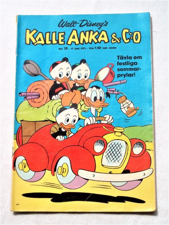 Kalle Anka&Co nr25,1971,normalskick, normalsliten,nött rygg