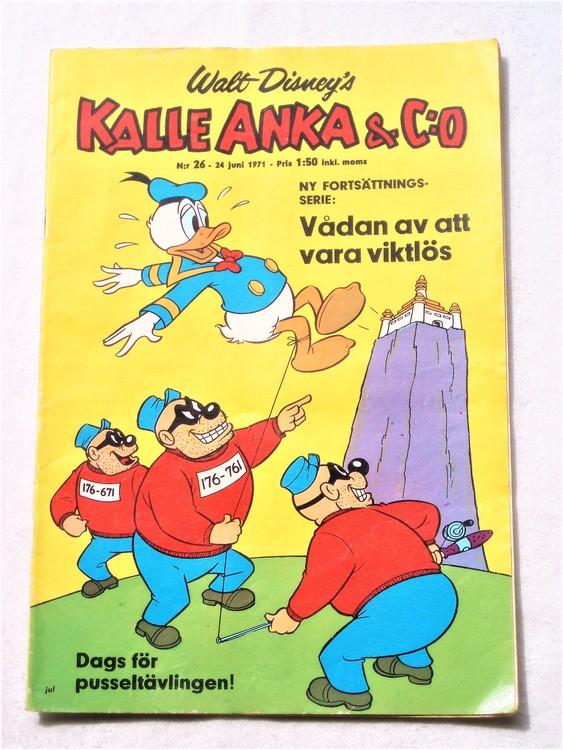 Kalle Anka&Co nr26,1971,normalskick, normalsliten,nött rygg