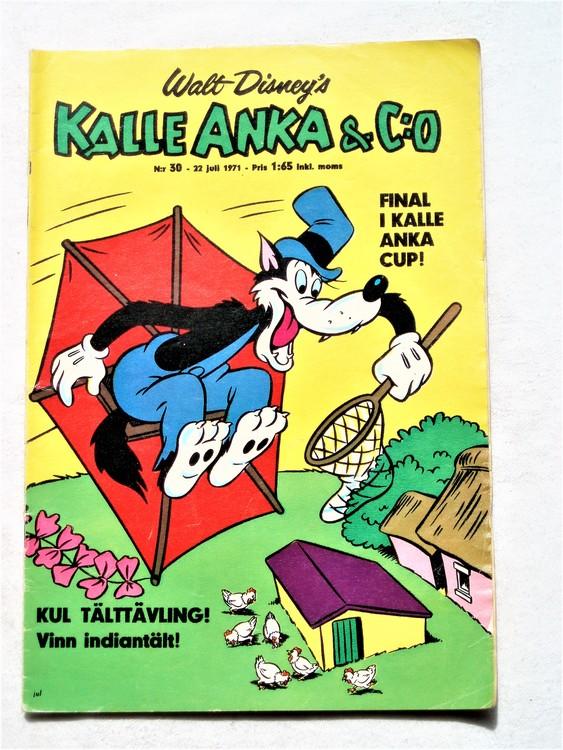 Kalle Anka & Co nr 30 1971 mer slitet än normalt,adressetikett