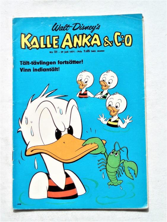 Kalle Anka & Co nr 31 1971 mer slitet än normalt,adressetikett