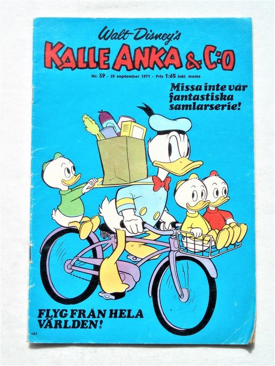 Kalle Anka & Co nr 39 1971 mer slitet än normalt,adressetikett