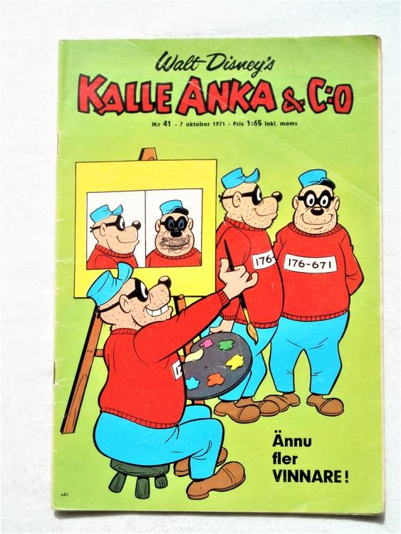 Kalle Anka & Co nr 41 1971 mer slitet än normalt,adressetikett
