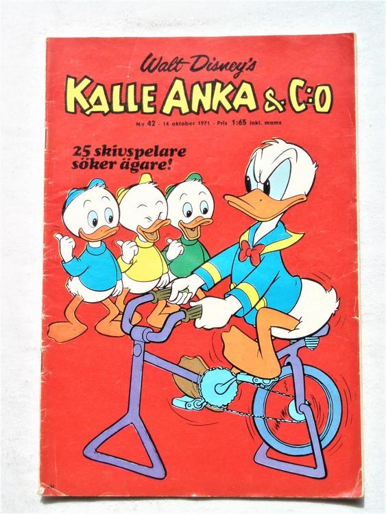 Kalle Anka & Co nr 42 1971 mer slitet än normalt,adressetikett