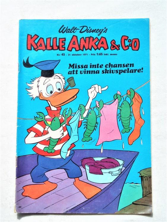 Kalle Anka & Co nr 43 1971 mer slitet än normalt,adressetikett