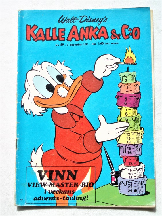 Kalle Anka & Co nr 49 1971 mer slitet än normalt,adressetikett